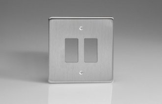 Varilight 2 Gang Power Grid Faceplate Including Power Grid Frame Dimension Brushed Steel