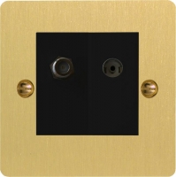 Varilight 2 Gang Comprising of Black Co-axial TV and Satellite TV Socket Ultra Flat Brushed Brass