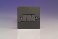 Varilight 3 Gang 10 Amp Switch Ultra Flat Iridium Black