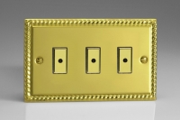 Varilight V-Pro Multi Point Remote (MPR or Eclique2) Series 3 Gang 0-100 Watts Multi Point Remote Master LED Dimmer Georgian Brass