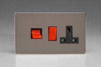 Varilight 45 Amp Double Pole Horizontal Cooker Panel with 13 Amp Switched Socket Screwless Pewter