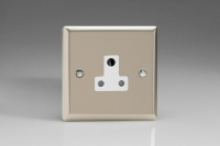 Varilight 1 Gang 5 Amp White Round Pin Socket 0-1150 Watts Classic Satin Chrome