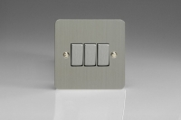 Varilight 3 Gang 10 Amp Switch Ultra Flat Brushed Steel