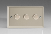 Varilight V-Com Series 3 Gang 15-180 Watt Leading Edge LED Dimmer Satin Chrome