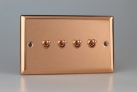 Varilight 4 Gang 10 Amp Toggle Switch Classic Polished Copper