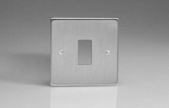 Varilight 1 Gang Power Grid Faceplate Including Power Grid Frame Dimension Brushed Steel