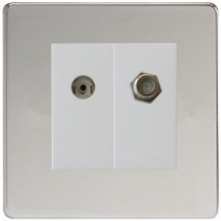 Varilight 2 Gang Comprising of White Co-axial TV and Satellite TV Socket Screwless Polished Chrome