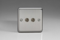 Varilight 2 Gang Co-axial TV Socket Classic Brushed Steel