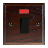 Wood 1 Gang Double Pole 20Amp Rocker Switch with Neon in Solid Dark Oak