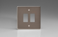 Varilight 2 Gang Power Grid Faceplate Including Power Grid Frame Dimension Pewter