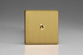 Varilight Euro Fixed 1 Gang 10 Amp Toggle Switch European Screwless Brushed Brass Effect Finish