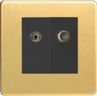 Varilight 2 Gang Comprising of Black Co-axial TV and Satellite TV Socket Screwless Brushed Brass