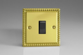 Varilight 1 Gang Intermediate (3 Way) 10 Amp Switch Classic Georgian Polished Brass Coated
