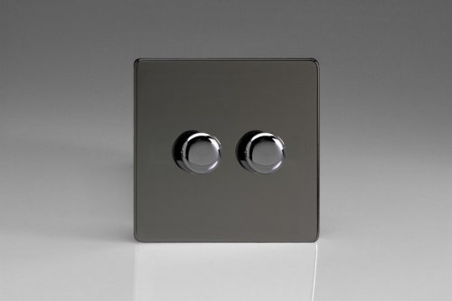 Varilight V-Dim Series 2 Gang 40-250 Watt Dimmer Screwless Iridium Black Effect Finish