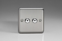 Varilight V-Pro IR Series 2 Gang 0-100 Watts Master Trailing Edge LED Dimmer Brushed Steel/Matt Chrome