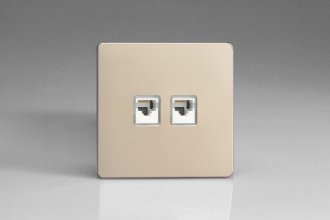 Varilight Euro Fixed 2 Gang RJ45 CAT 5e Sockets European Screwless Satin Chrome Effect Finish
