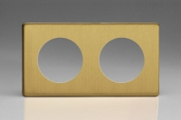 Varilight European VariGrid Double faceplate with a 2 hole cut-out in Brushed Brass