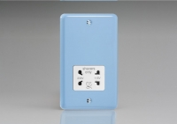 Varilight White Dual Voltage 240V/115V IP41 Shaver Socket Classic Lily Duck Egg Blue