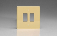 Varilight 2 Gang Power Grid Faceplate Including Power Grid Frame Dimension Polished Brass