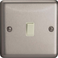 Varilight 1 Gang 10 Amp Push-to-make, Bell Push, Retractive White Switch Classic Brushed Steel