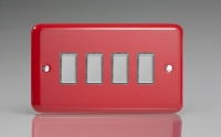 Varilight V-Pro Multi Point Tactile Touch Slave (MP Slave) Series 4 Gang Unit for use with V-Pro Multi Point Remote Master Dimmers Pillar Box Red