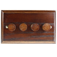 Wood 4 Gang 2Way Push on/Push off 4 x 250W/VA Dimmer Switch in Solid Dark Oak