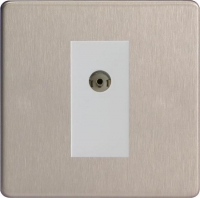 Varilight 1 Gang White Isolated Co-axial TV Socket Screwless Brushed Steel