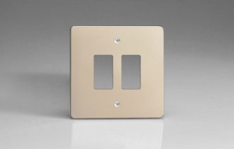 Varilight 2 Gang Power Grid Faceplate Including Power Grid Frame Dimension Satin Chrome