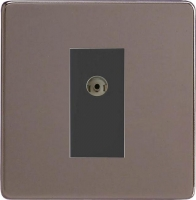 Varilight 1 Gang Black Isolated Co-axial TV Socket Screwless Pewter