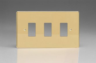Varilight 3 Gang Power Grid Faceplate Including Power Grid Frame Dimension Polished Brass Coated