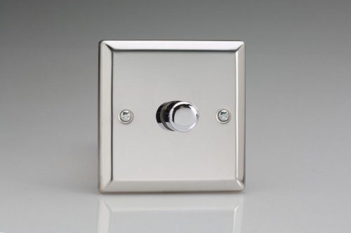 Varilight V-Plus Series 1 Gang 200-1000 Watt/VA Dimmer Classic Polished Chrome Coated