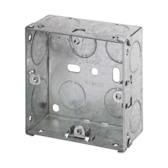 WBOXS35 Metal 35mm Deep Wall Box (Knock-out) For Single sockets, Switches and Dimmers etc