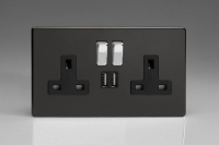 Varilight 2 Gang 13 Amp Single Pole Switched Socket with 2 x 5V DC 2.1 Amp USB Charging Ports Screwless Premium Black