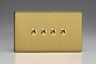 Varilight 4 Gang 10 Amp Toggle Switch Screwless Brushed Brass Effect Finish
