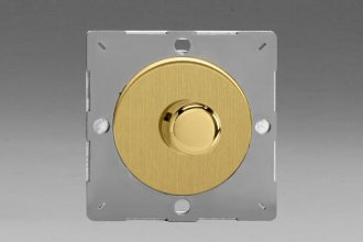 Varilight European Brushed Brass VariGrid V-Dim Thermal Series 1 Gang 1 or 2 Way 60-400 Watt Dimmer