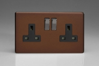 Varilight 2 Gang 13 Amp Double Pole Switched Socket Screwless Mocha