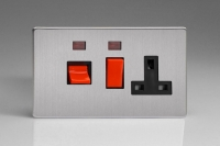 Varilight 45 Amp Double Pole Horizontal Cooker Panel with 13 Amp Switched Socket and Neon Screwless Brushed Steel