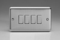 Varilight 4 Gang 10 Amp Switch Classic Brushed Steel