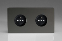 Varilight Euro Fixed Range 2 Gang 16 Amp Euro (Pin Earth) Flush Design Socket European Screwless Iridium Black