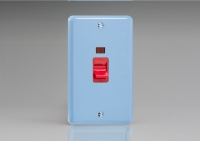 Varilight 45 Amp Double Pole Vertical Cooker Switch with Neon Classic Lily Duck Egg Blue