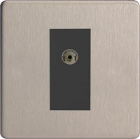 Varilight 1 Gang Black Isolated Co-axial TV Socket Screwless Brushed Steel