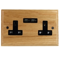 USB Charging Double Socket In Oak With Black Trim