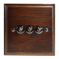 Wood 3 Gang 2Way 10Amp Toggle Switch in Solid Dark Oak