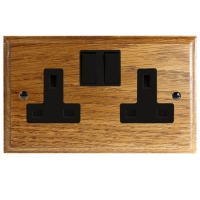 Wood 2 Gang 13Amp Switched Socket in Solid Medium Oak