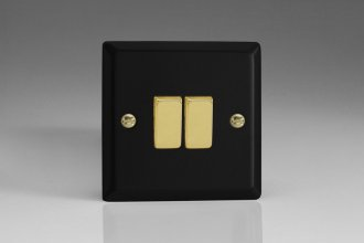 Varilight 2 Gang 10 Amp Switch Vogue Matt Black Effect Finish