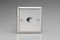 Varilight V-Com Series 1 Gang 20-400 Watt Leading Edge LED Dimmer Polished Chrome
