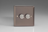 Varilight V-Plus Series 2 Gang 40-300 Watt/VA Dimmer Pewter