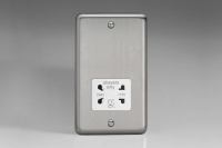 Varilight White Dual Voltage 240V/115V IP41 Shaver Socket Classic Brushed Steel
