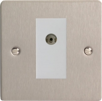 Varilight 1 Gang White Co-axial TV Socket Ultra Flat Brushed Steel