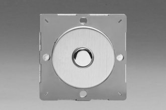 Varilight European Brushed Steel Finish VariGrid 1 Gang 1 Way Only 6A Push Momentary Switch